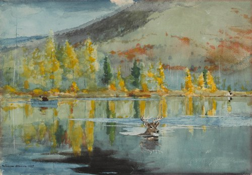 Winslow Homer, An October Day, 1889. Watercolor over graphite, with scraping, on cream wove paper, 14 1/16 x 19 3/4 in. (35.7 x 50.2 cm). The Clark, 1955.770