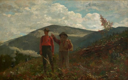 Winslow Homer, Two Guides, 1877. Oil on canvas, 24 1/4 x 38 1/4 in. (61.6 x 97.2 cm). The Clark, 1955.3