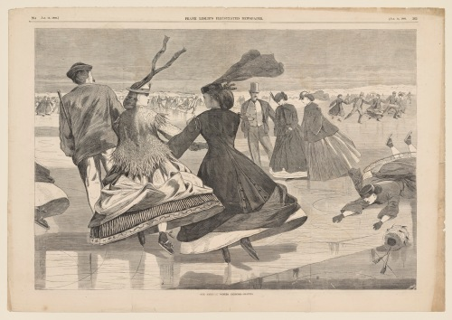After Winslow Homer, Our National Winter Exercise--Skating, Publ. Frank Leslie's Illustrated Newspaper 13 Jan 1866. Wood engraving on newsprint, Sheet 41.9 x 59.4 cm. The Clark, 1955.4694
