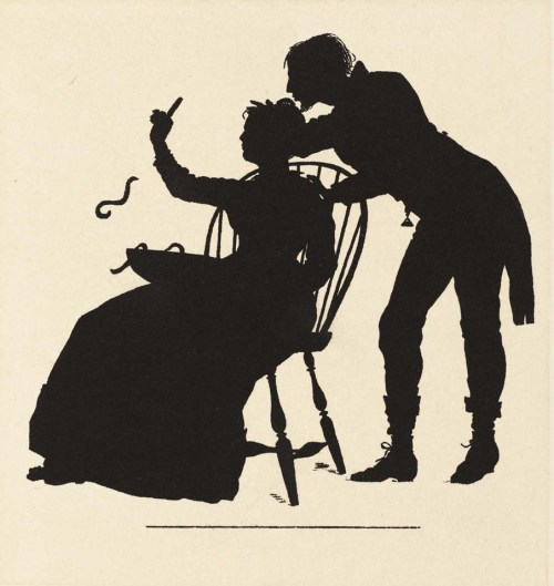 Winslow Homer, An' Wal, He Up an' Kist Her,  publ. in The Courtin', 1874. Heliotype, 12.1x11.4 cm, The Clark, ND237H6.3c5