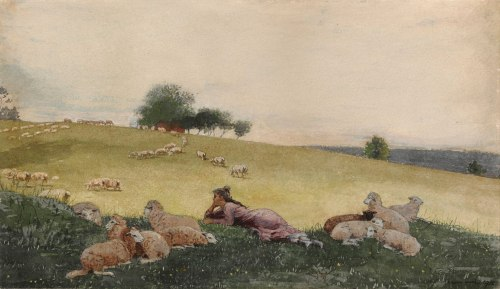 Winslow Homer, Shepherdess of Houghton Farm, 1878. Watercolor and graphite, with additions in ink and gouache, on cream wove paper, 11 x 19 in. (27.9 x 48.3 cm). The Clark, 1955.1483