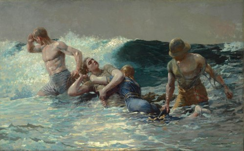 Winslow Homer, Undertow, 1886. Oil on canvas, 29 13/16 x 47 5/8 in. (75.7 x 121 cm). The Clark, 1955.4